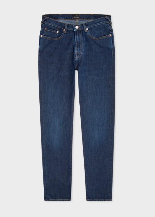 폴 스미스 Paul Smith Mens Tapered-Fit Antique-Wash Dry Indigo Jeans