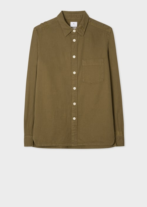 폴 스미스 Paul Smith Mens Khaki Classic-Fit Cotton-Stretch Shirt