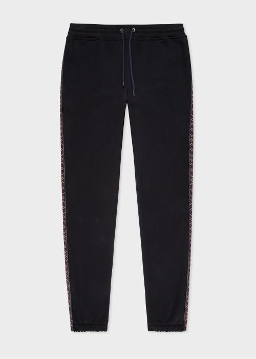 폴 스미스 Paul Smith Mens Black Organic Cotton Sweatpants With Side Stripe