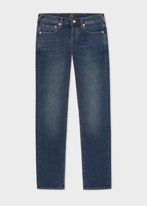 폴 스미스 Paul Smith Mens Standard-Fit 11.8oz Crosshatch Stretch Blue-Rinse Jeans