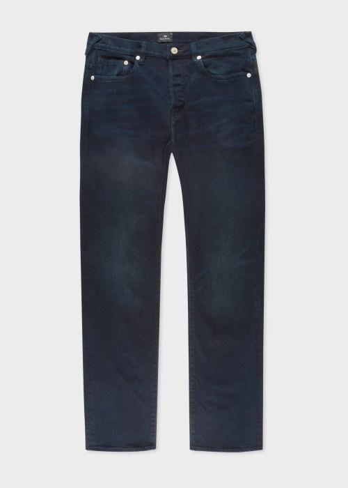 폴 스미스 Paul Smith Mens Standard-Fit Crosshatch Stretch Navy Over-Dye Jeans
