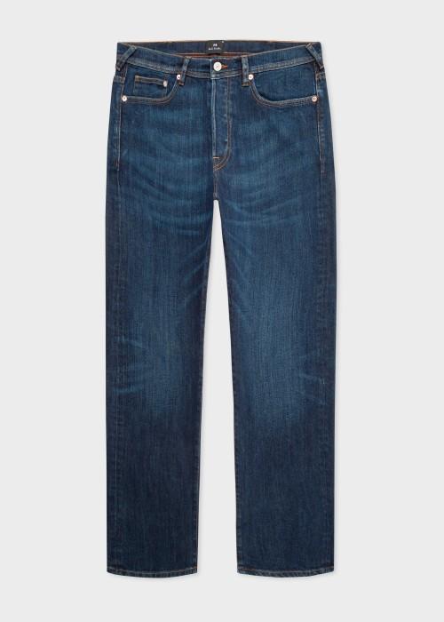폴 스미스 Paul Smith Mens Standard-Fit Dry Indigo Antique-Wash Jeans