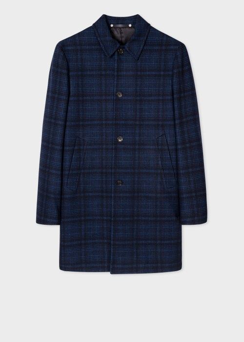 폴 스미스 Paul Smith Mens Blue Wool-Blend Check Mac
