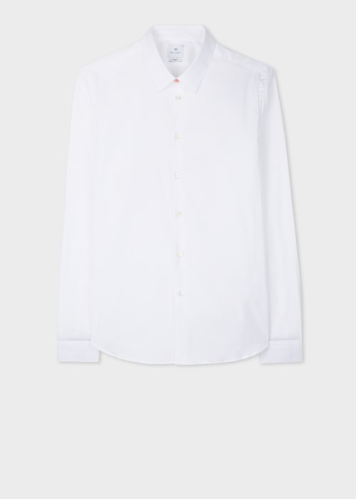 폴 스미스 Paul Smith Mens Slim-Fit White Stretch-Cotton Shirt With Sports Stripe Cuff Lining