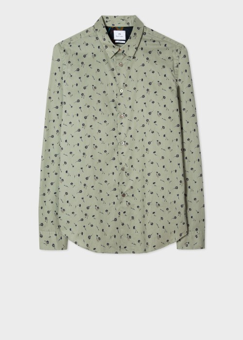 폴 스미스 Paul Smith Mens Slim-Fit Green Alpine Aster Print Cotton Shirt
