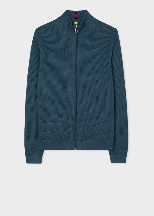 폴 스미스 Paul Smith Mens Petrol Blue Zip Cardigan