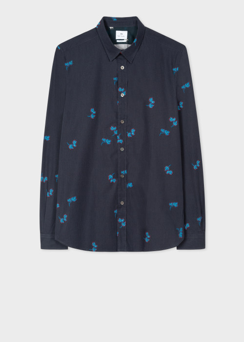 폴 스미스 Paul Smith Mens Slim-Fit Navy Ivy Print Organic Cotton Shirt