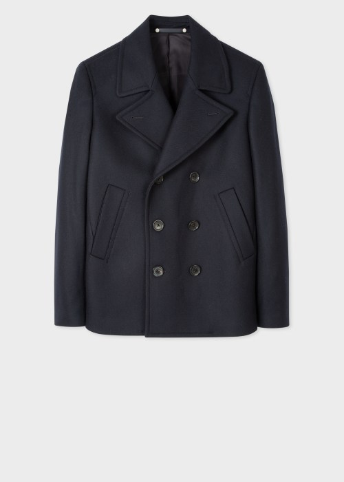 폴 스미스 Paul Smith Mens Navy Wool-Cashmere Pea Coat
