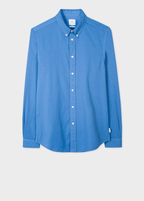 폴 스미스 Paul Smith Mens Tailored-Fit Powder Blue Garment-Dyed Cotton Shirt