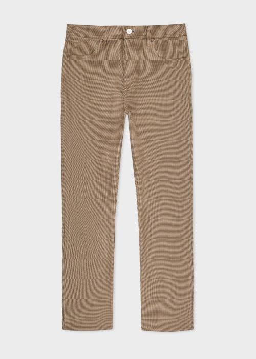 폴 스미스 Paul Smith Mens Relaxed-Fit Tan Puppytooth Trousers