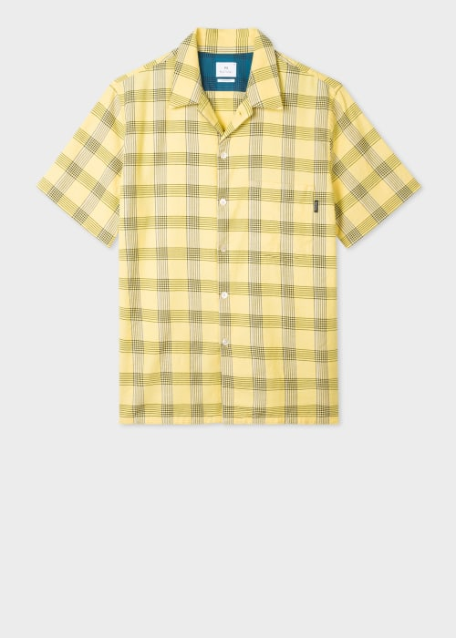 폴 스미스 Paul Smith Mens Classic-Fit Yellow Check Short-Sleeve Shirt