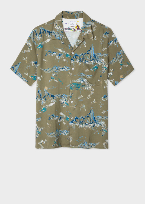 폴 스미스 Paul Smith Mens Classic-Fit Green Mountain Print Short-Sleeve Shirt