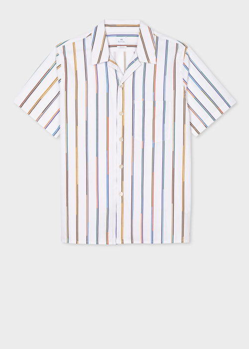 폴 스미스 Paul Smith Mens White Multi-Stripe Cotton Short-Sleeve Shirt