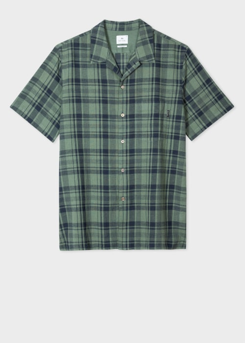 폴 스미스 Paul Smith Mens Green Check Cotton-Linen Short-Sleeve Shirt