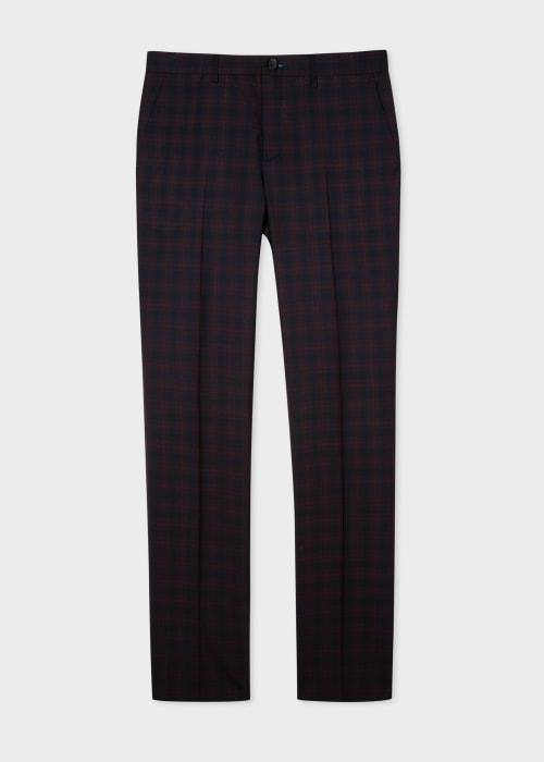 폴 스미스 Paul Smith Mens Slim-Fit Navy And Red Check Trousers