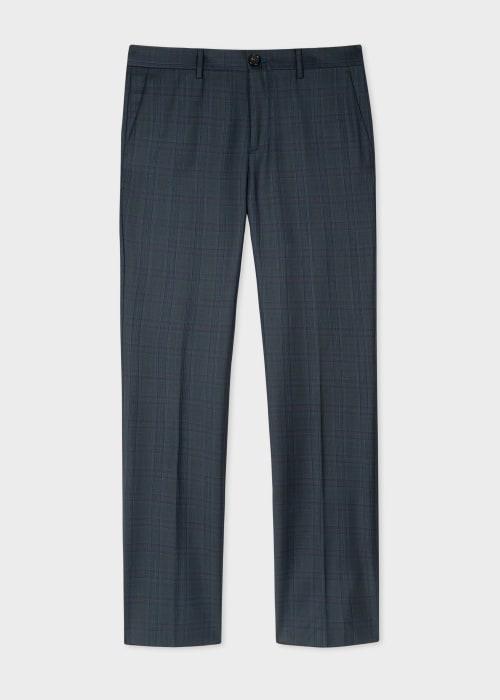 폴 스미스 Paul Smith Mens Slim-Fit Charcoal Check Wool Trousers