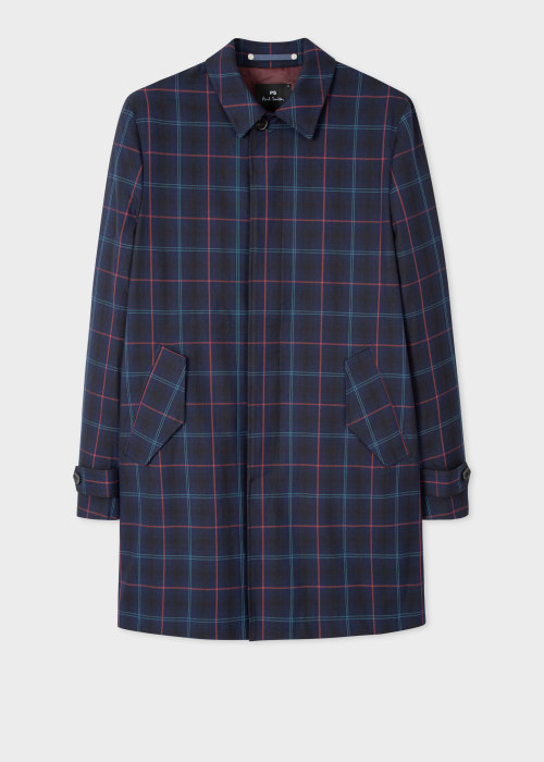 폴 스미스 Paul Smith Mens Navy Check Stretch-Cotton Mac