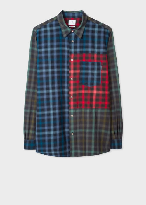 폴 스미스 Paul Smith Mens Classic-Fit Cut-Up Check Cotton Shirt