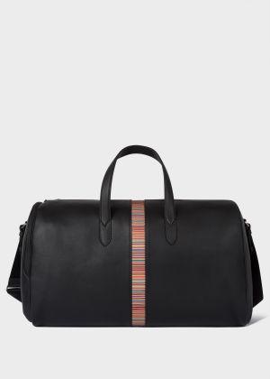 폴 스미스 여행용 가방 Paul Smith Mens Black Leather Signature Stripe Holdall