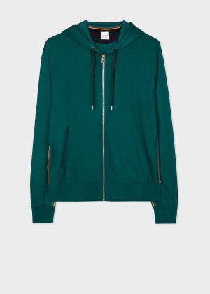 폴 스미스 Paul Smith Mens Emerald Green Zip-Front Wool Hoodie With Artist Stripe Trim