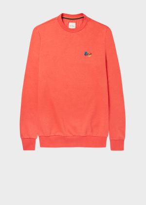 폴 스미스 Paul Smith Mens Coral Cotton-Blend Paint Splatter Sweatshirt