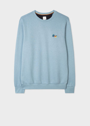 폴 스미스 Paul Smith Mens Sky Blue Cotton-Blend Paint Splatter Sweatshirt