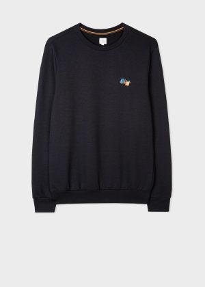 폴 스미스 Paul Smith Mens Dark Navy Cotton-Blend Paint Splatter Sweatshirt