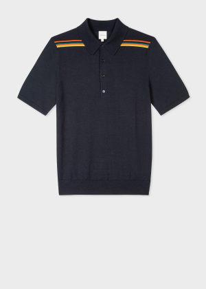 폴 스미스 Paul Smith Mens Dark Navy Merino Artist Stripe Polo Shirt