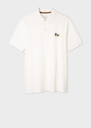 폴 스미스 Paul Smith Mens White Paint Splatter Cotton Polo Shirt