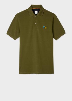 폴 스미스 Paul Smith Mens Olive Green Paint Splatter Cotton Polo Shirt