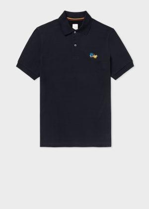 폴 스미스 Paul Smith Mens Navy Paint Splatter Cotton Polo Shirt