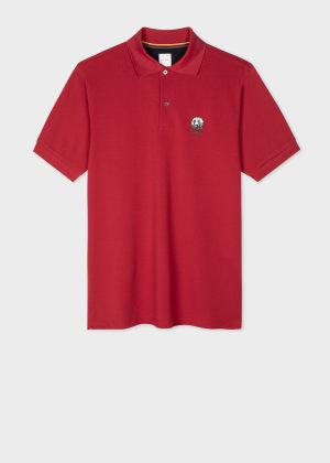 폴 스미스 Paul Smith Mens Dark Red Cotton-Pique Polo Shirt With Homer Badge