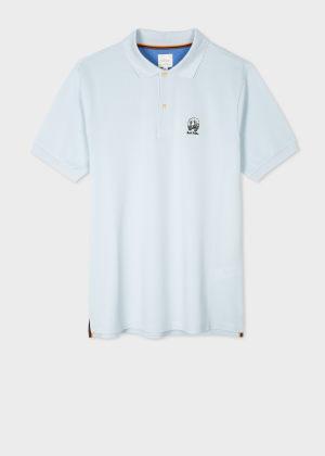 폴 스미스 Paul Smith Mens Sky Blue Cotton-Pique Polo Shirt With Homer Badge