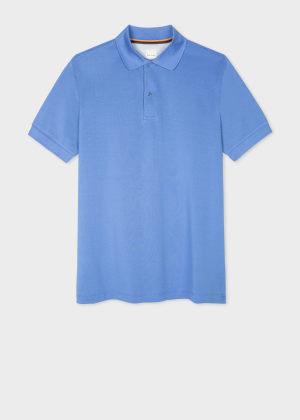 폴 스미스 Paul Smith Mens Slim-Fit Powder Blue Cotton Polo Shirt With Charm Button Placket
