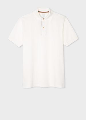 폴 스미스 Paul Smith Mens Slim-Fit White Cotton-Pique Polo Shirt With Artist Stripe Placket