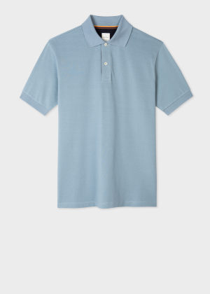 폴 스미스 Paul Smith Mens Slim-Fit Sky Blue Cotton-Pique Polo Shirt With Artist Stripe Placket