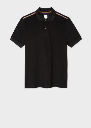 폴 스미스 Paul Smith Mens Black Cotton Polo Shirt With Signature Stripe Trim
