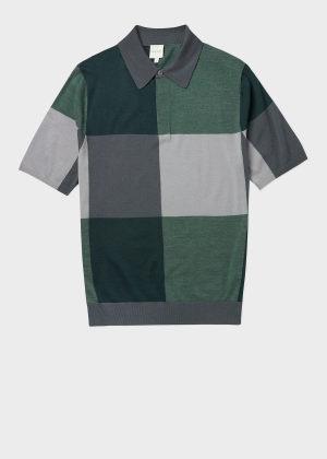 폴 스미스 Paul Smith Mens Check Merino Wool Polo Shirt