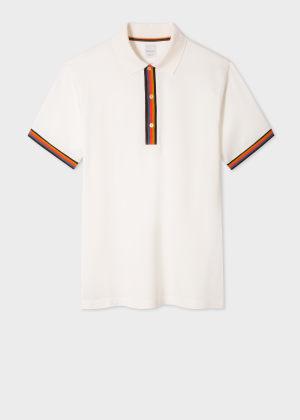 폴 스미스 Paul Smith Mens Slim-Fit White Cotton-Pique Polo Shirt With Artist Stripe Details
