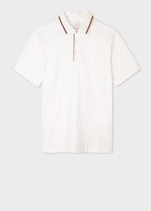 폴 스미스 Paul Smith Mens White Cotton Polo Shirt With Stripe Trims