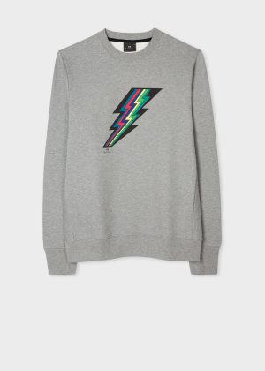 폴 스미스 Paul Smith Mens Grey Marl Sports Stripe Lightning Sweatshirt