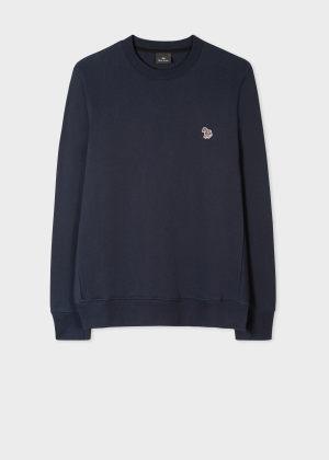 폴 스미스 Paul Smith Mens Dark Navy Organic-Cotton Zebra Logo Sweatshirt