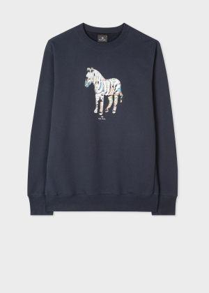폴 스미스 Paul Smith Mens Navy Comic Zebra Organic Cotton Sweatshirt