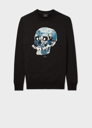 폴 스미스 Paul Smith Mens Black Floral Happy Skull Organic Cotton Sweatshirt