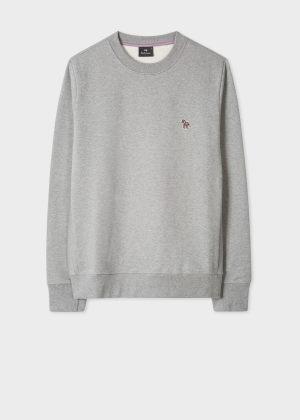 폴 스미스 Paul Smith Mens Grey Marl Organic-Cotton Zebra Logo Sweatshirt