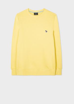 폴 스미스 Paul Smith Mens Pale Yellow Organic-Cotton Embroidered Zebra Logo Sweatshirt