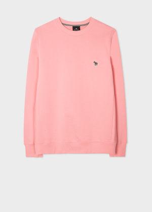 폴 스미스 Paul Smith Mens Pink Organic-Cotton Embroidered Zebra Logo Sweatshirt