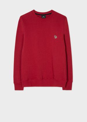 폴 스미스 Paul Smith Mens Dark Red Organic-Cotton Embroidered Zebra Logo Sweatshirt