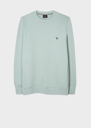 폴 스미스 Paul Smith Mens Mint Green Organic-Cotton Embroidered Zebra Logo Sweatshirt