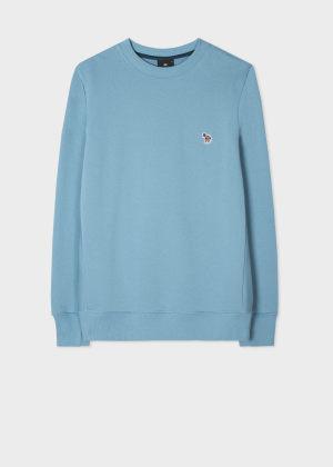 폴 스미스 Paul Smith Mens Sky Blue Organic-Cotton Embroidered Zebra Logo Sweatshirt